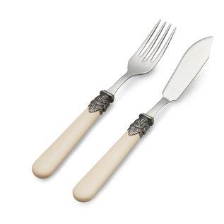 EME Napoleon Couverts à Poisson, 2 pièces ( couteau et fourchette), Ivoire non Nacrée, 1 personne