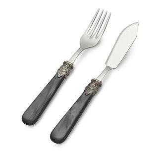 EME Napoleon Couverts à Poisson, 2 pièces ( couteau et fourchette), Noir avec Nacrée, 1 personne