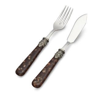 EME Napoleon Couverts à Poisson, 2 pièces ( couteau et fourchette), Tortue Brun, 1 personne