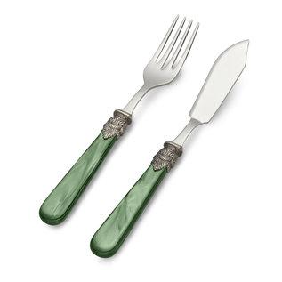 EME Napoleon Fisch Besteckset, 2-teilig (Fischmesser und Fischgabel), Grün mit Perlmutt, 1 Person