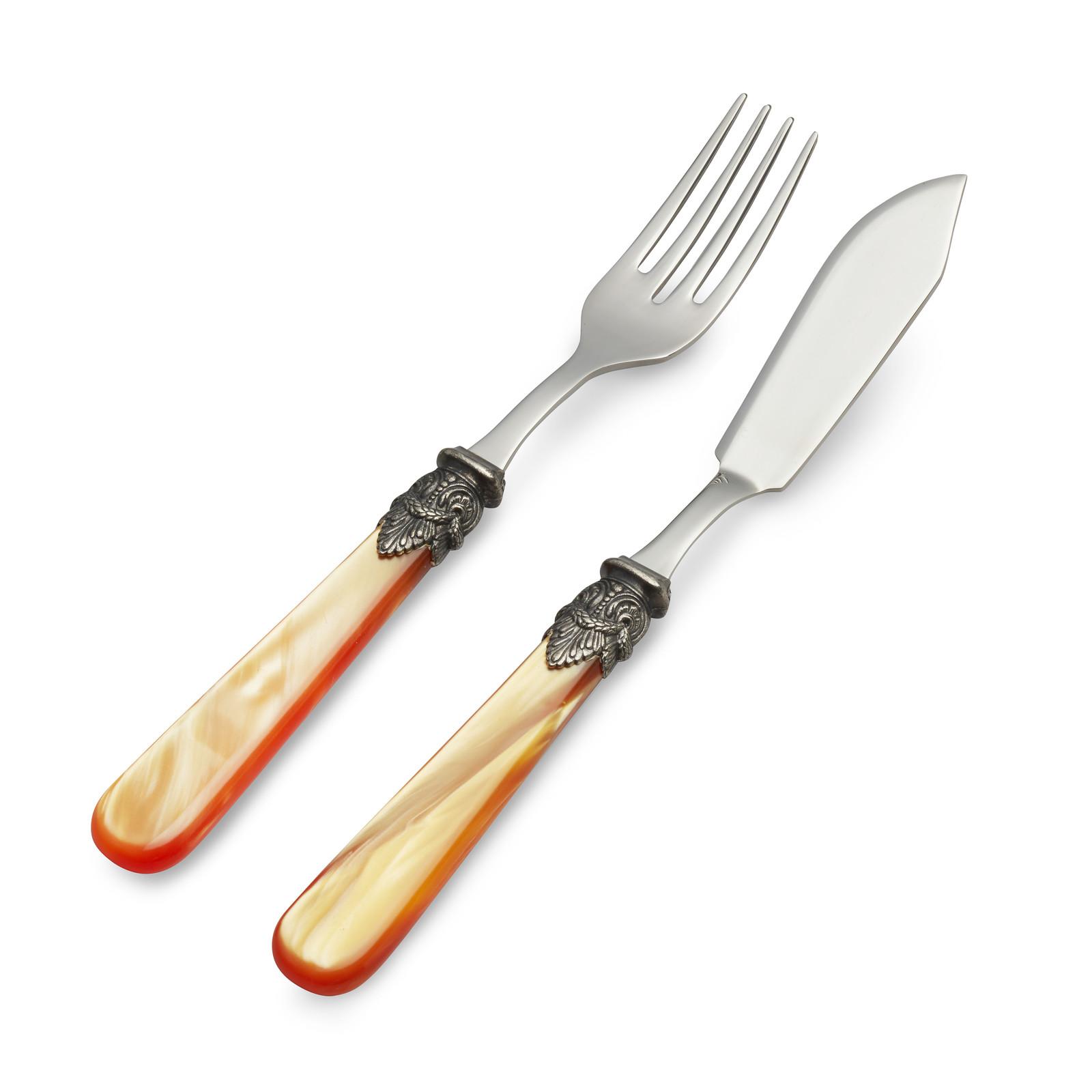 Vis Bestekset, 2-delig (vismes en visvork), Oranje met Parelmoer, 1 persoon