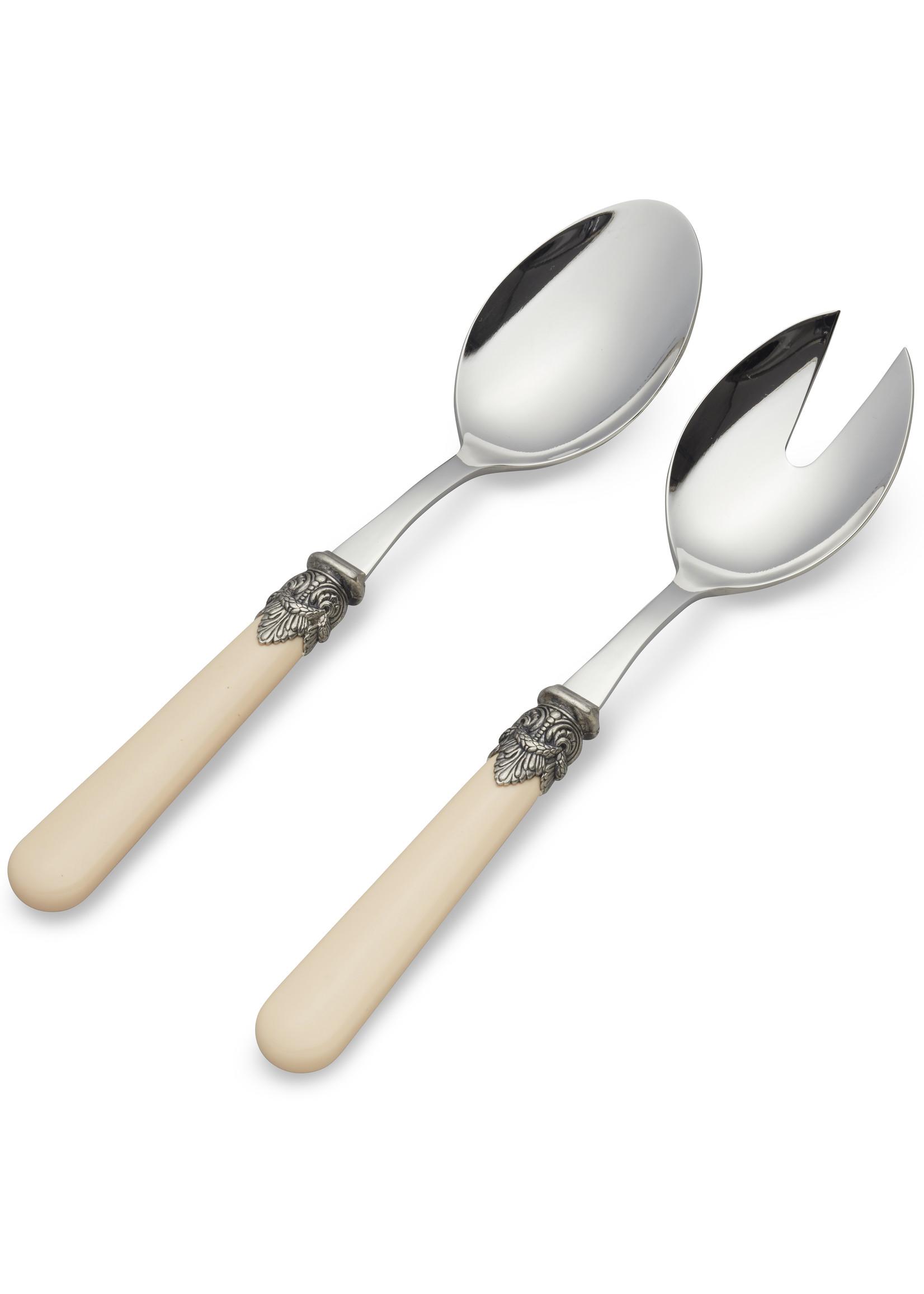 EME Napoleon Cubiertos para Ensalada, 2 piezas (cuchara y tenedor), Marfil sin Nácar