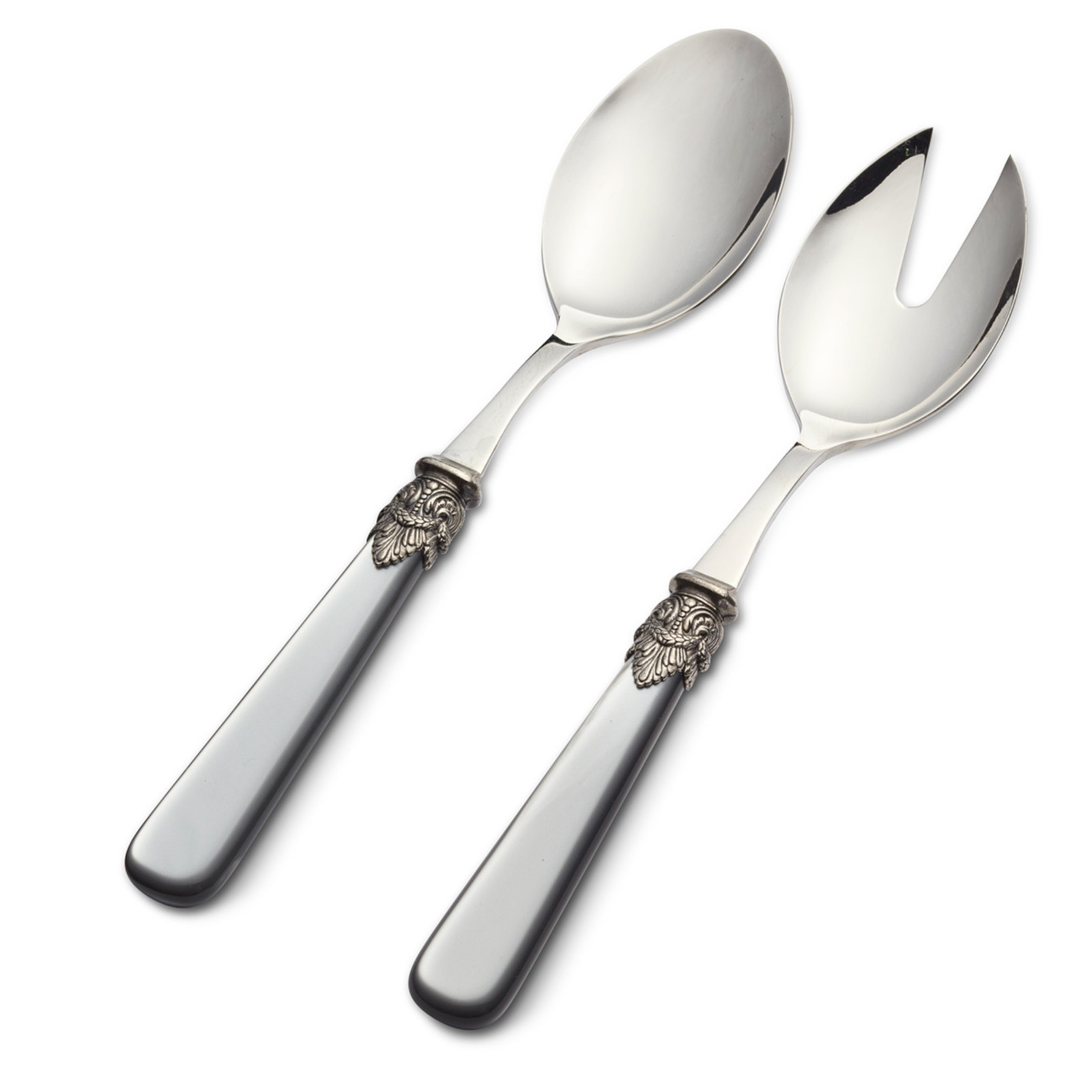 Salad cutlery set, 2-piece (salad spoon and salad fork)  Gray with Mother of Pearl