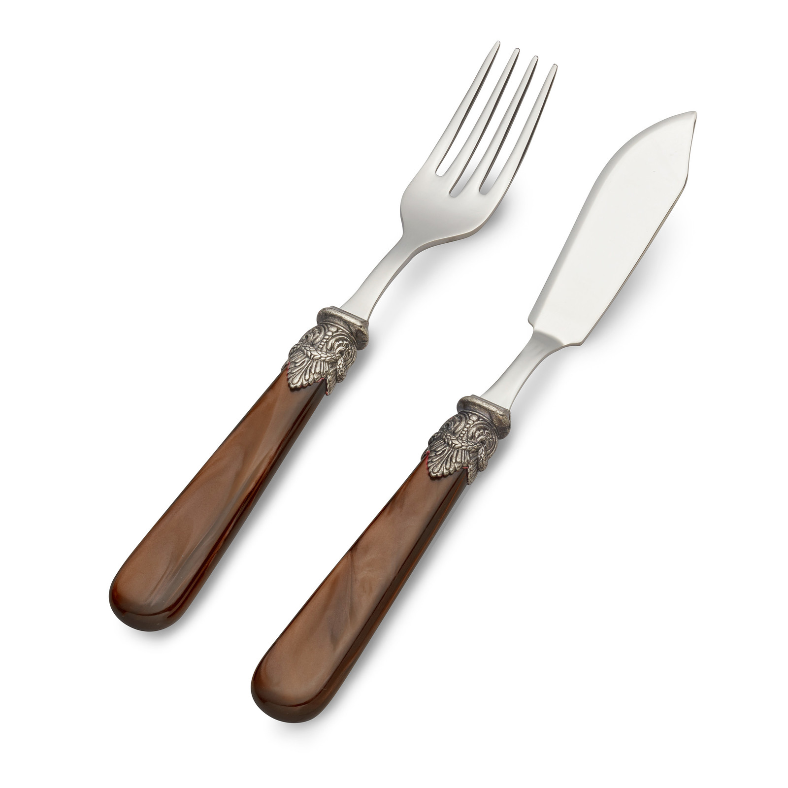 Vis Bestekset, 2-delig (vismes en visvork), Bruin met Parelmoer, 1 persoon