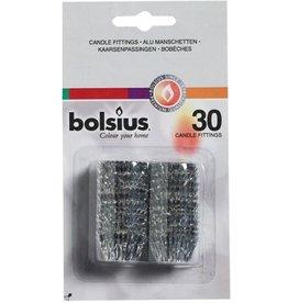 Bolsius Kaarsenpassingen - 30 stuks | Zilver