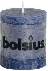 Bolsius stompkaars rustiek 80 x 70 mm donkerblauw