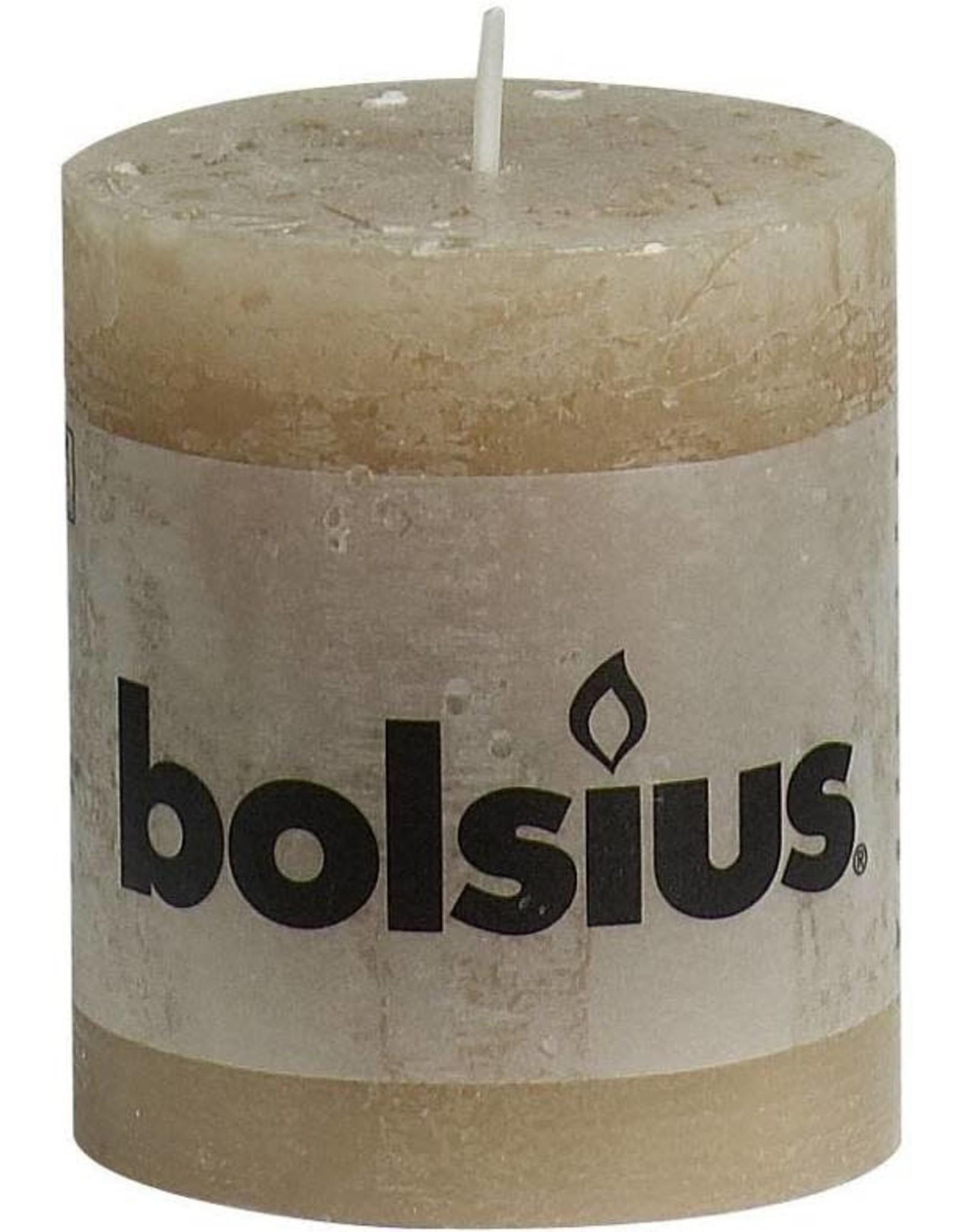 Bolsius stompkaars rustiek 80x70mm beige