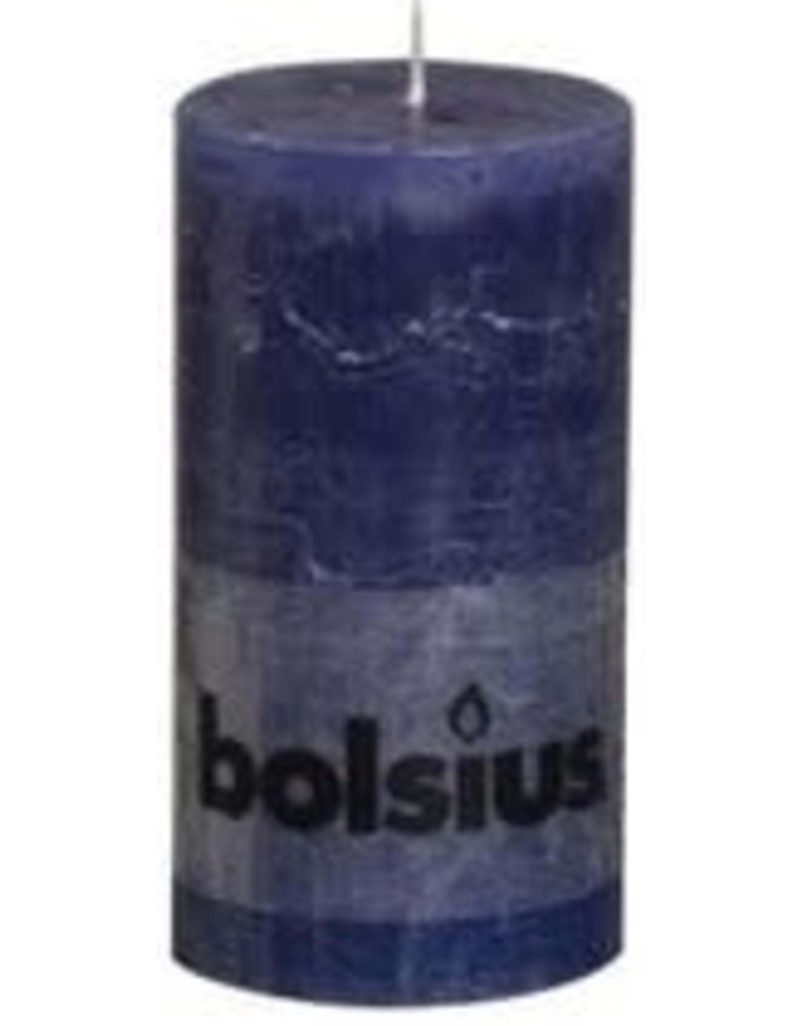 Bolsius stompkaars rustiek 130 x 70 mm donkerblauw