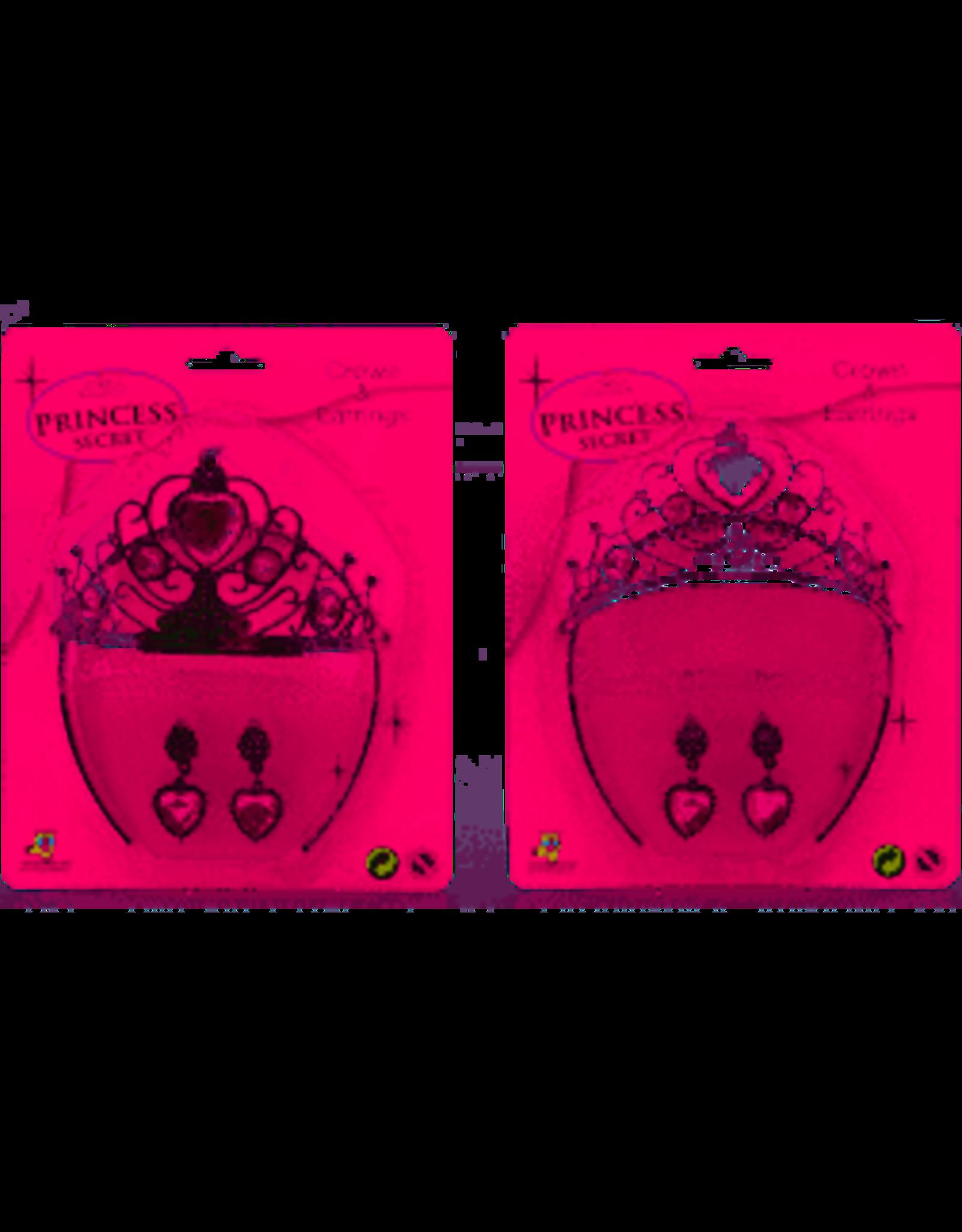 kroon en oorbellen Princess Secret zilver 20 cm