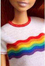 MATTEL Barbie Fashionistas pop 122 langharige met regenboog t-shirt