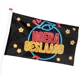TOUCHE Boland Vlag Hoera Geslaagd 90 X 150 Cm Polyester Zwart