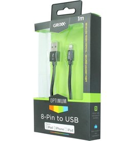 GRIXX GRIXX Optimum Cable iPhone 5/iPad 4 MFI Lightning Apple License Nylon 1.0m Black