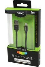 GRIXX GRIXX Optimum Cable iPhone 5/iPad 4 MFI Lightning Apple License Nylon 1.0m Black