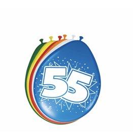 FOLAT Ballonnen 55 jaar 8 stuks
