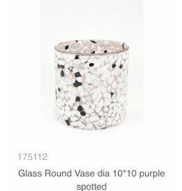 MANSION Glass Round Vase/ windlicht dia 10*10 purple spotted