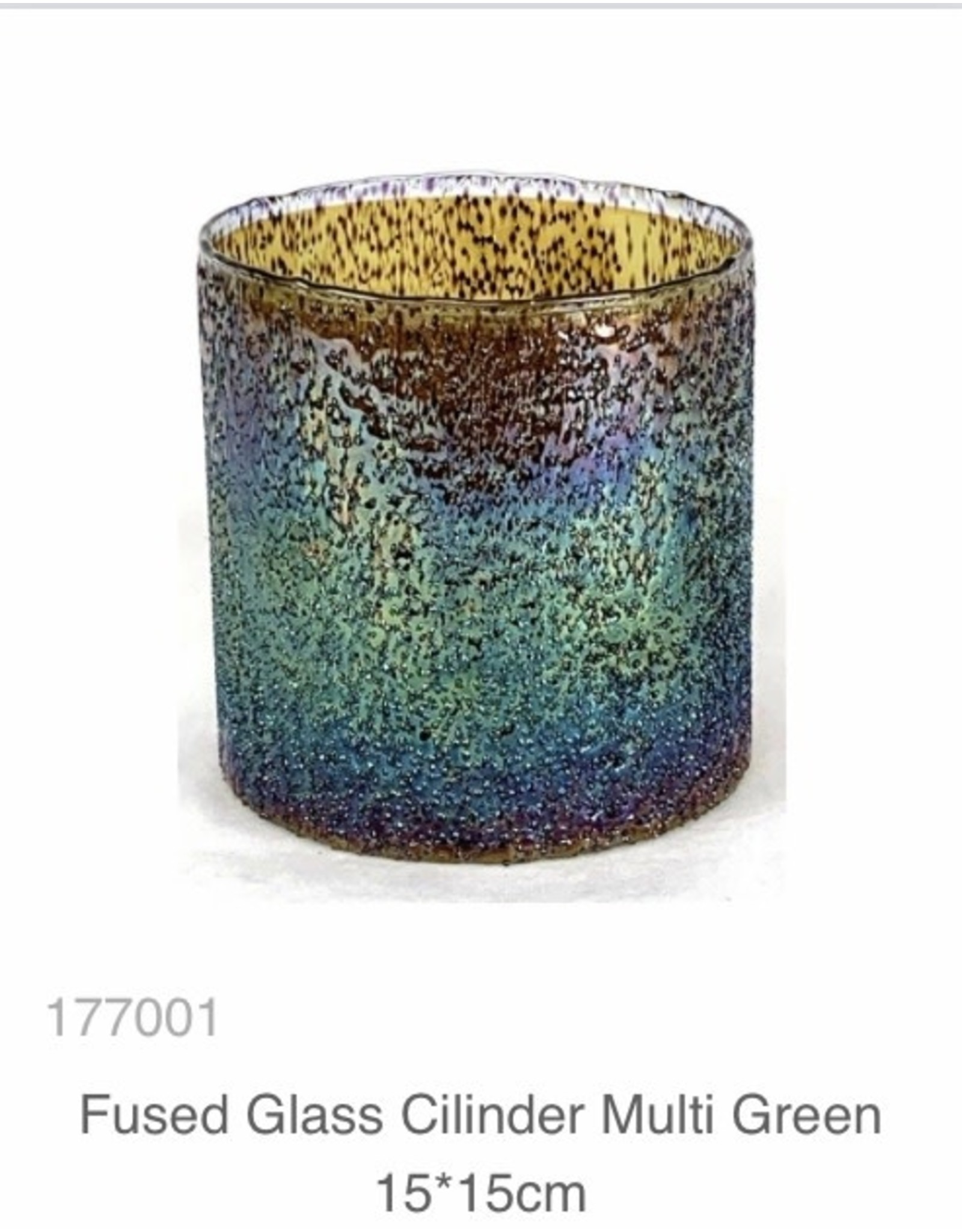 MANSION Fused Glass Cilinder Multi Green 15*15cm vaas