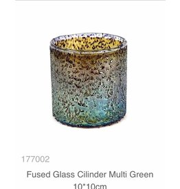 MANSION Fused Glass Cilinder Multi Green 10*10cm Windlicht