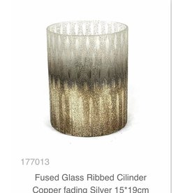MANSION Fused Glass Ribbed Cilinder Copper fading Silver 15*19cm Vaas