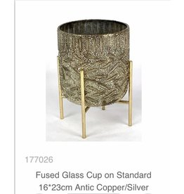 MANSION Vaas Fused Glass Cup on Standard 16*23cm Antic Copper/Silver