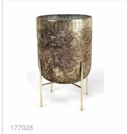 MANSION Windlicht Fused Glass Cup on Standard 10*15cm Antic Copper/Silver