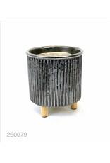 Madison Home Bloempot Concrete pot on wooden leg Industrial Silver Gray 16.5X16.5X