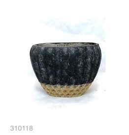 MANSION Bloempot Cement Oval High Pot 27.5*15.5*20 Copper Black