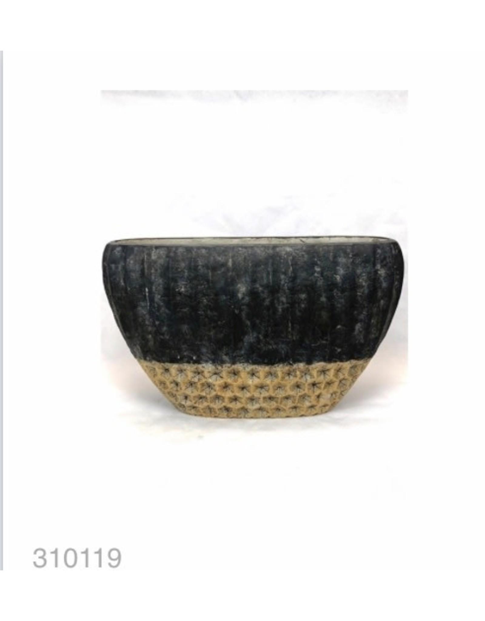 MANSION Bloempot Cement Oval High Pot 27.5*16*12.5 Copper Black
