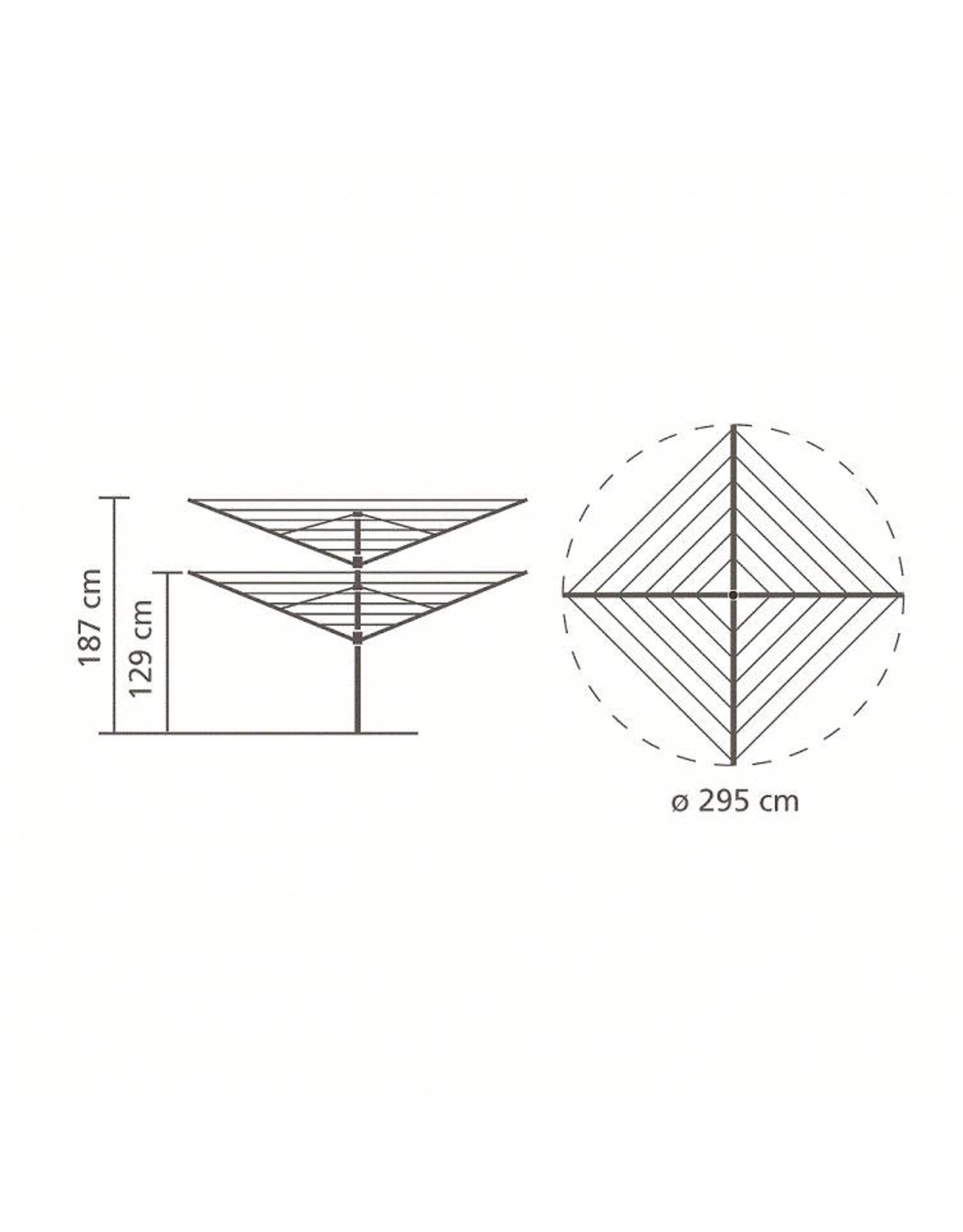 Brabantia Lift-o-Matic droogmolen - 50 meter - met metalen grondanker