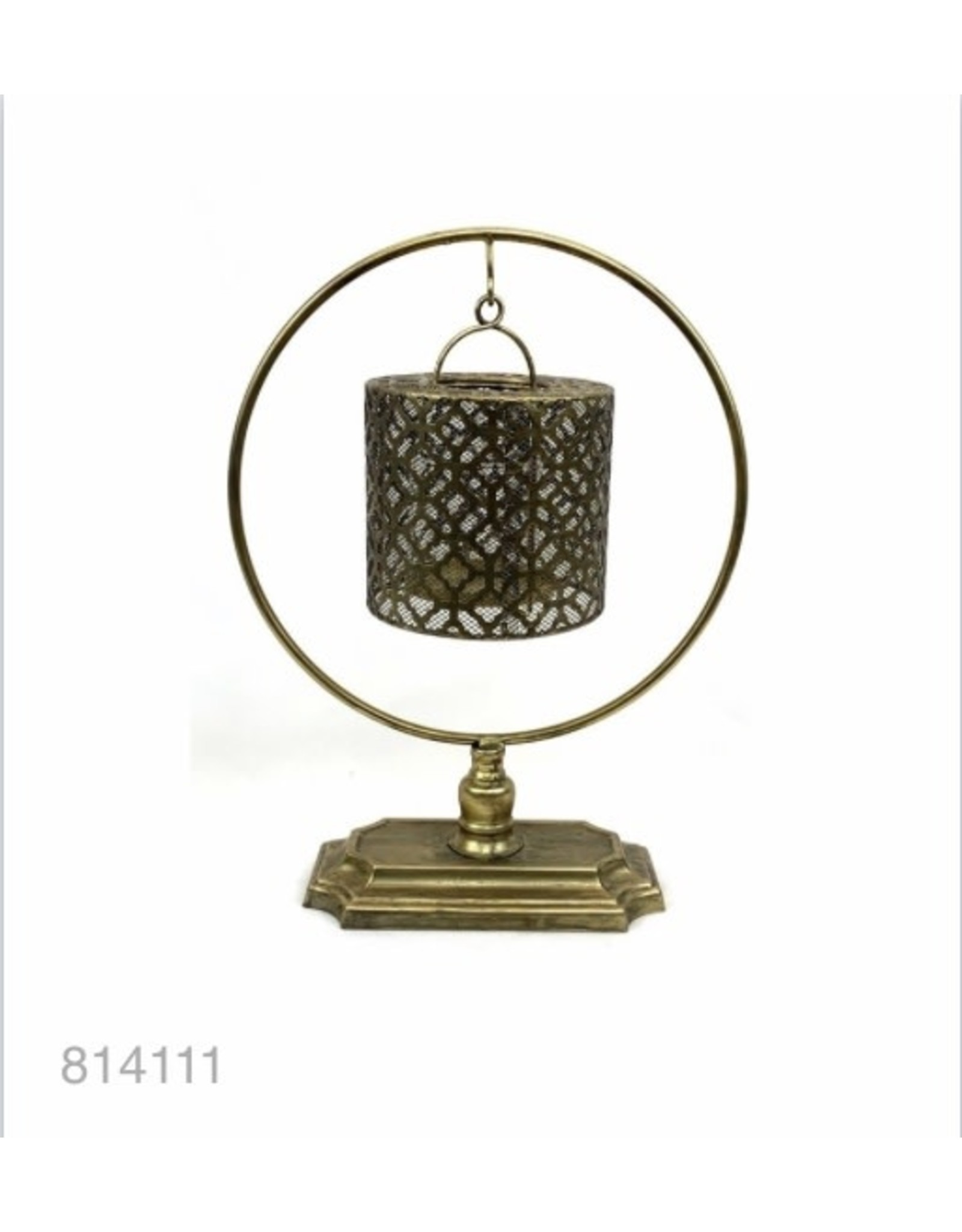 MANSION Gold plated Lantern on pedestal 30x14x39