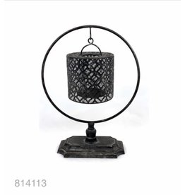 MANSION Matt black Lantern on pedestal 30x14x39