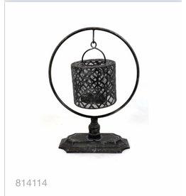 MANSION Matt black Lantern on pedestal 25x12x34