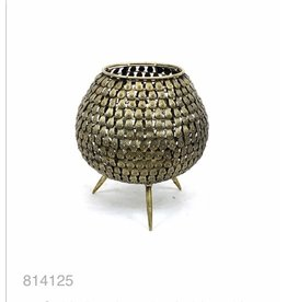 MANSION Gold plated waxine holder with scales on legs 16.5*16.5*17