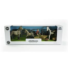 JollyHorses: Quarter Horse Bay + Palomino paard + veulen + hek + boer + accessoires