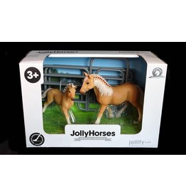 JOLLITY JollyHorses - paarden - Palomino merrie plus veulen en hekwerk – handgeschilderd