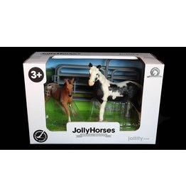 JOLLITY JollyHorses - paarden - Pinto Mare merrie plus veulen en hekwerk – handgeschilderd