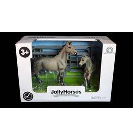 JOLLITY JollyHorses - paarden - Quarter Horse Grey hengst plus veulen en hekwerk – handgeschilderd