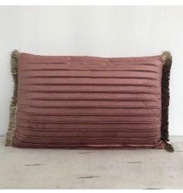 Velvet kussen oud roze 40x60 cm met plooien