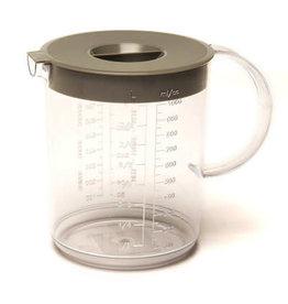 MERKLOOS Maatbeker 1 liter met grijs deksel