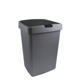 SUNWARE Sunware Delta Prullenbak - 50L - met klep deksel - metaal/zwart