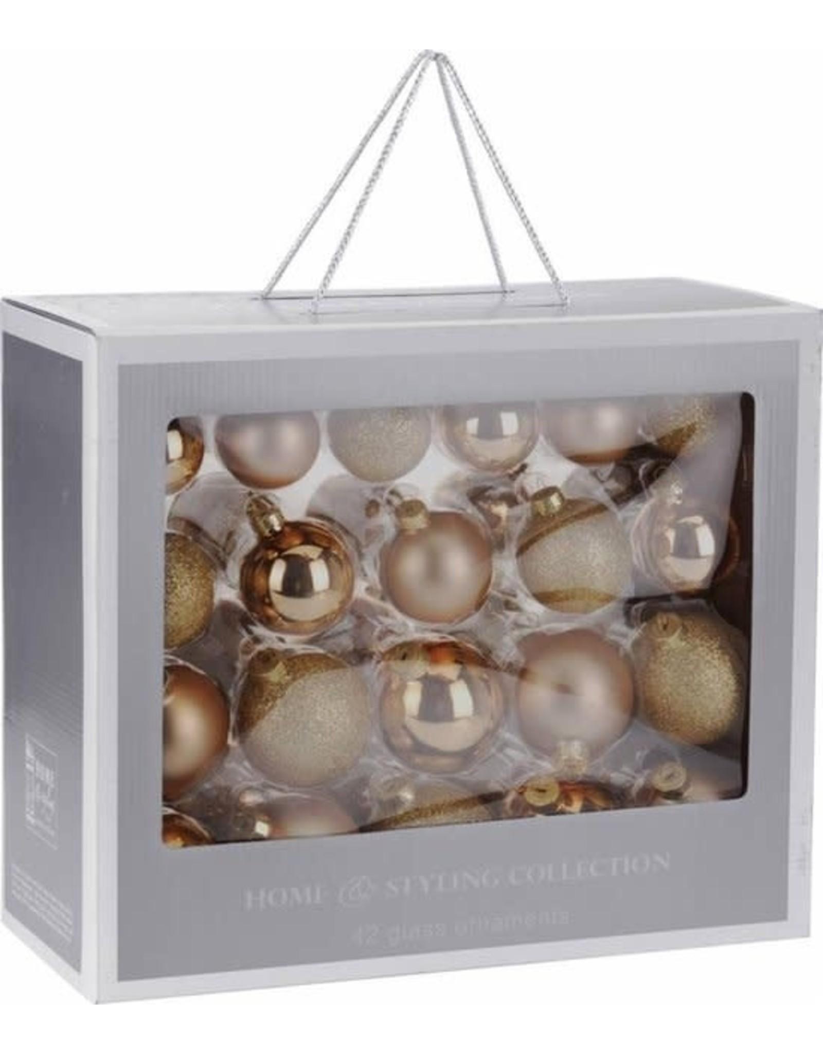 42-Delige glazen kerstballen set Goud