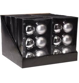 H&S KERSTBAL 6X ZILVER 65MM GLAS