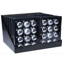 H&S KERSTBAL 12X ZILVER 57MM GLA