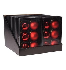 H&S KERSTBAL 6X ROOD 65MM GLAS