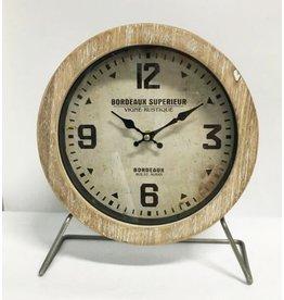 MANSION METAL/hout  tafel Klok Bordeaux Superieur 25x10x29cm