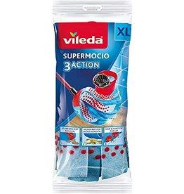VILEDA Vileda SuperMocio 3Action 3D wismop reservekoppen – dubbele voordeelverpakking, 27 x 27 x 6,5 cm, blauw, 1