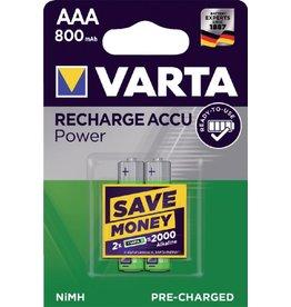 VARTA Batterij Oplaadbare AAA batterijen  (potlood) Varta Ready2Use HR03 NiMH 800 mAh 1.2 V 2 stuk(s)