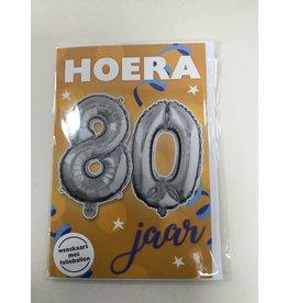 TOUCHE Wenskaart Touche Hoera 80 jaar met folieballon en envolop