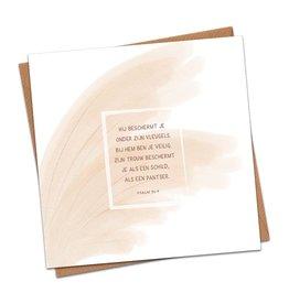 Dagelijkse broodkruimels Christelijke Kaart dagelijksebroodkruimels – Psalm 91:4 (Hij Beschermt Je) Met envolop