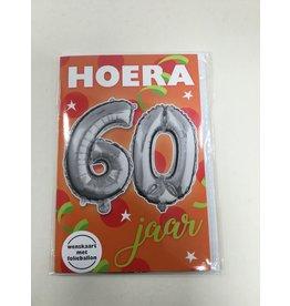 TOUCHE Wenskaart Touche Hoera 60 jaar met folieballon en envolop