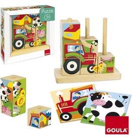 GOULA Goula Houten Blokken Puzzel - Boerderij - 8 Blo